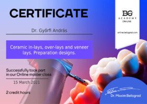 Dr. Győrfi András - vezető fogszakorvos, mosolytervező specialista bizonyítvány